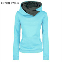 Spring 2017 Autumn Winter Women Casual Solid Hoodies Unisex Lapel Hooded New Sweatshirts Pullovers Turn Down