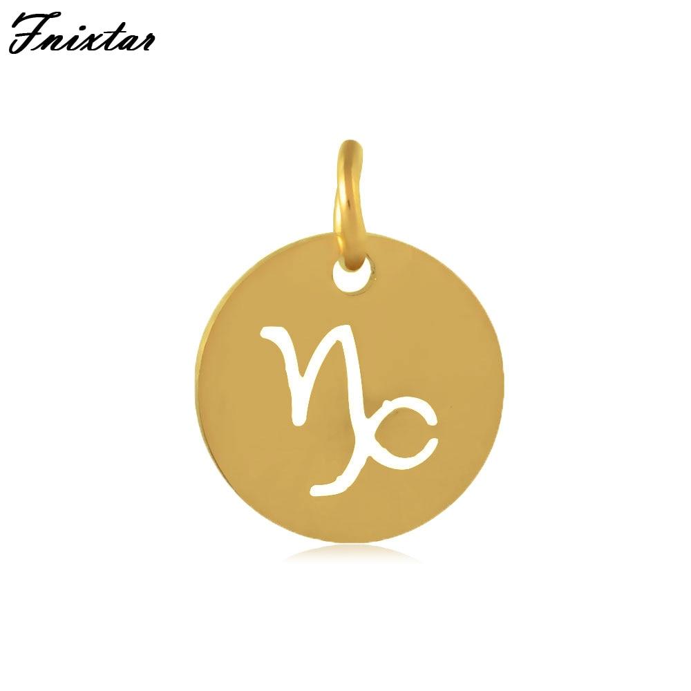 Fnixtar 12MM Gold Color Metal Charm Twelve Constellations Capricorn Charm Zodiac Signs Accessories DIY Jewelry Making 10pcs/lot