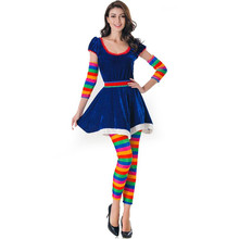 New Sexy Funny Circus Clown Costume Naughty Harlequin Fancy Dress Uniform Adult Halloween Cosplay Clothing for Women Z1157