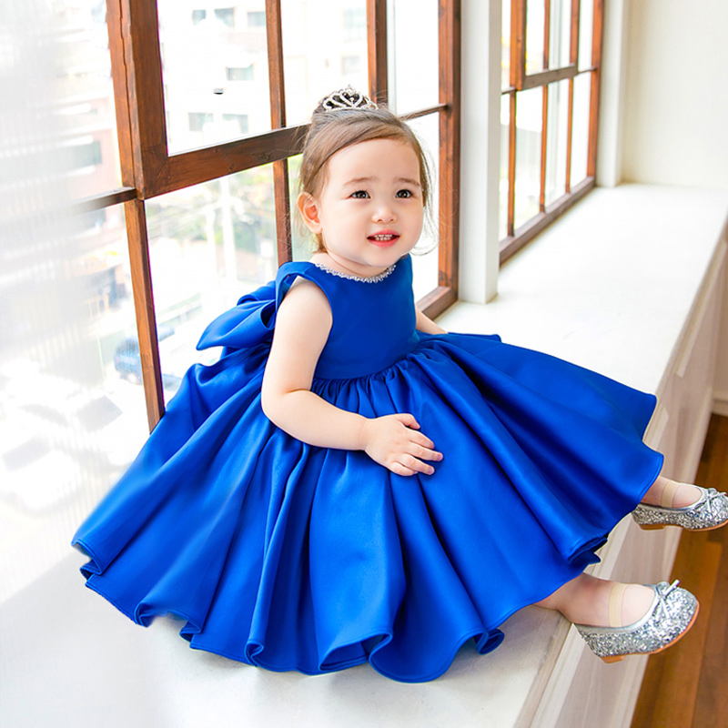 Blue Stain Baby Dress Tulle Bow Ball Gown Summer Princess Dresses Sleeveless Flower Girl Dress Girl's Birthday Party Dress E326 summer baby girl s dress cloth cherry blossom korean version sleeveless vest dress princess bow tie vestido