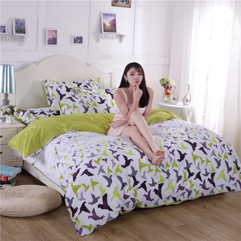 wind in England flowers Japan fashion and personality 4pcs/3pcs Duvet Cover Sets Soft Polyester Bed Linen Flat Bed Sheet