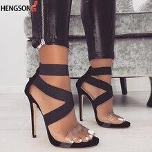 Women Sandal Heels 11.5cm Fashion Gladiator High Heels Stretch Ankle Strap