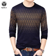 RUELK 2018 Hot New Fashion Men Slim Casual Men's Sweater Male Round Neck Patchwork Slim Fit Knitting Pullover Sweaters Winter