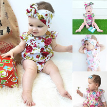 New Cute Baby Clothes Newborn Baby 2PCS Printed One Piece Rompers Toddler Girls Jumpsuit Outfit+printed Hair Band