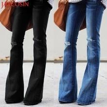 JAYCOSIN модные женские туфли джинсы рваные джинсы со средней талией, облегающие брюки-клеш dropshipped октября, 21