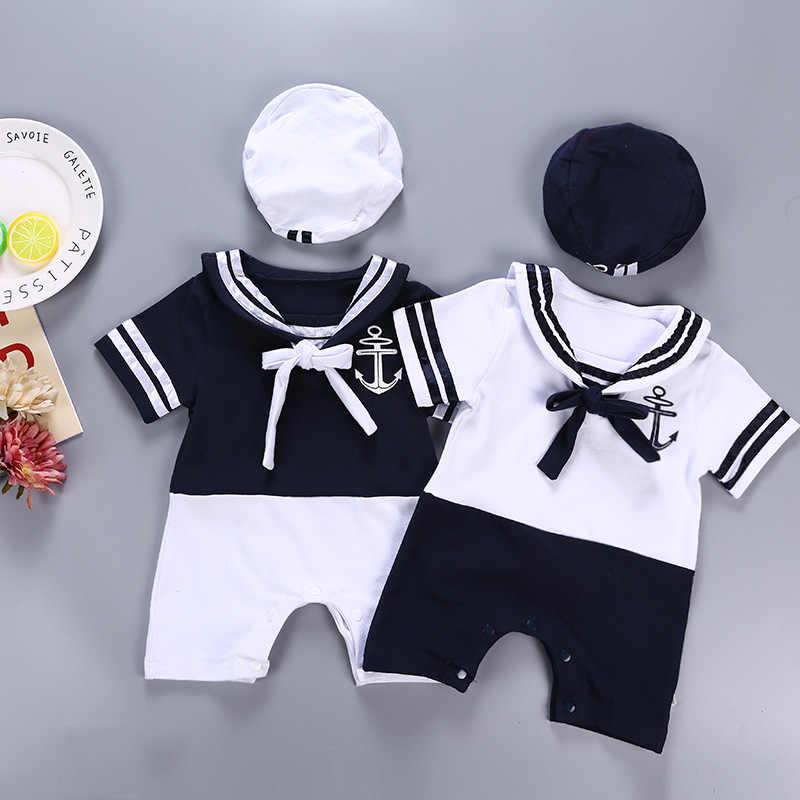e5f2b03da47 Fashion Sailor Baby Boy Short Rompers Cool Baby Navy Beret Cap Cotton Infant  Clothes Costumes Seaman