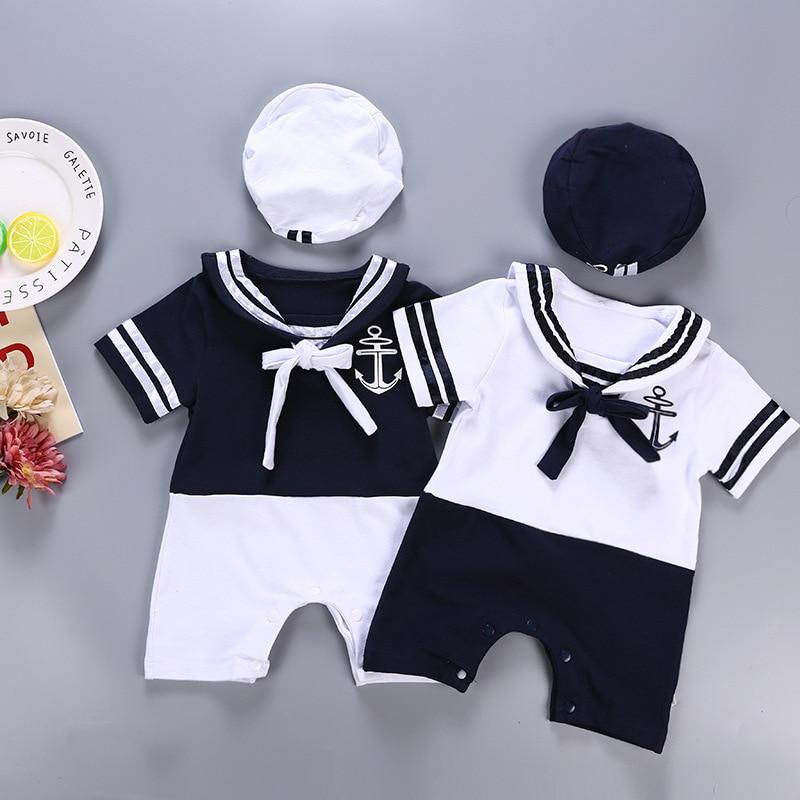 Детская одежда для мальчиков с матросским воротником, белые детские комбинезоны с темно-синей шапкой, полосатая рубашка в морском стиле, де...