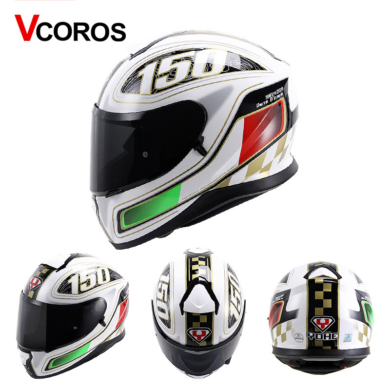Vcoror full face motorcycle helmet YOHE with inner sun black shield motorbike helmet YH 976 made of ABS full cover moto helmet
