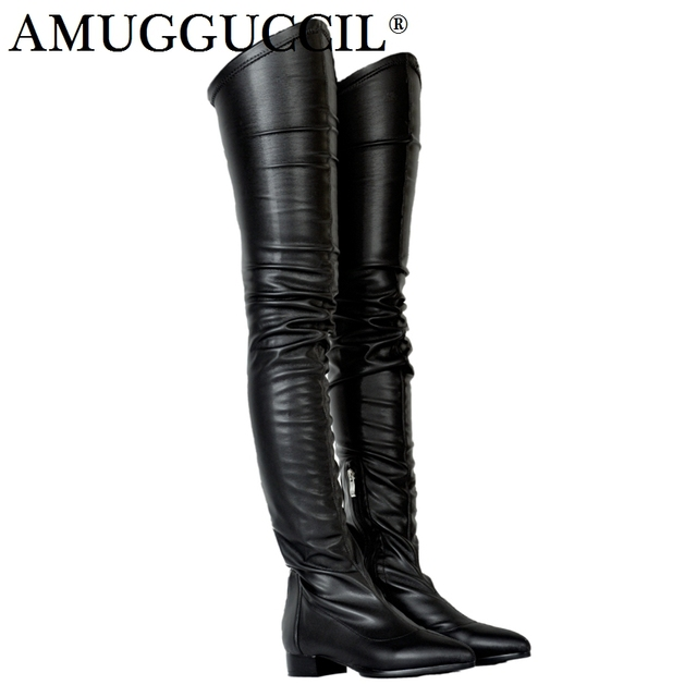 2019 New Plus Big Size 34-47 Black Wine-red Apric Zip Fashion Sexy Thigh High Over The Knee Autumn Female Lady Women Boot