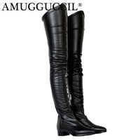 2019 New Plus Big Size 34 47 Black Wine red Apric Zip Fashion Sexy Thigh High Over The Knee Autumn Female Lady Women Boot X1692