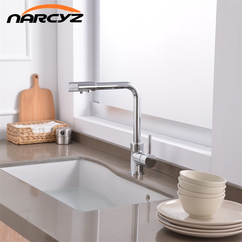 цена на Narcyz Drinking Water Filter Faucet Deck Mounted Mixer Valve Chrome Single Hole Purifier 3 Way Water Kitchen Faucet Mixer XT-32