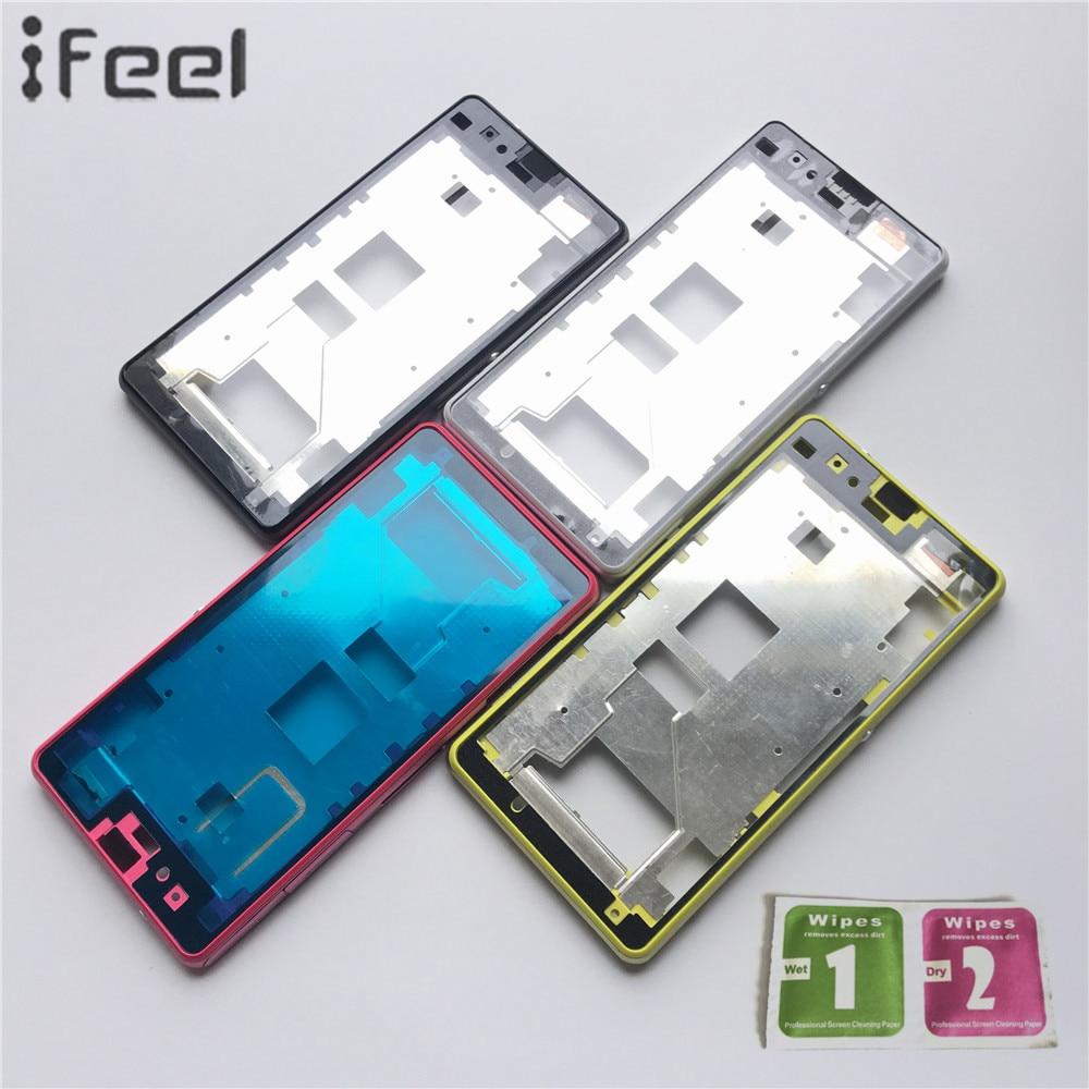 IFEEL Nouveau LCD Support Avant Un-Couverture Avec Moyen Logement Lunette cadre Partie + Bouton Latéral Pour Sony Xperia Z1mini D5503 M51W Z1 Compact
