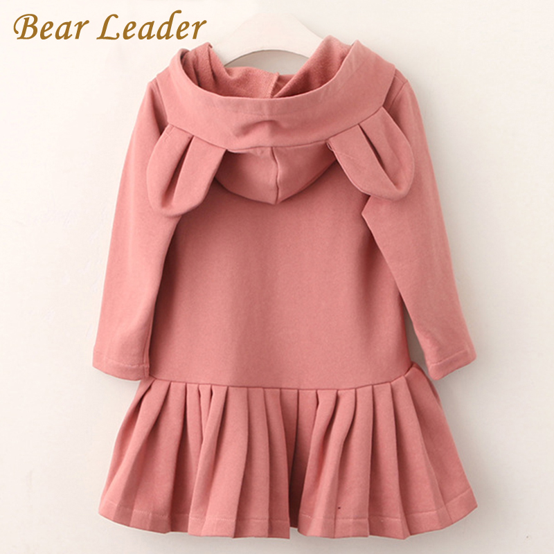 Bear Leader Girls Dress Ny merke Baby Girls Blouse Rabbit Ears Hooded Ruched Long Sleeve Barneklær Dress Girls Clothes