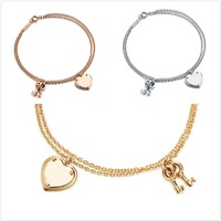 TIFF925 sterling silver heart LOVE classic rivet key rose gold silver gold bracelet with ladies fashion jewelry lovers gift