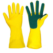 1Pair Reusable Sponge Fingers Latex Scouring Gloves Creative Waterproof Rubber  Household Cleaning Scrub Pad