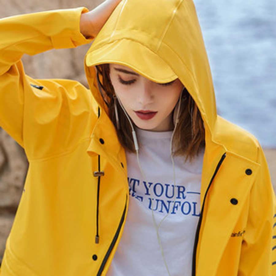 Womens Stylish Solid Yellow Rain Poncho Waterproof Raincoat With Hood And Pockets Yellow Lightweight Hooded Zipper Jacket 3DYY48