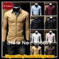Wholesale Mixed colors&sizes Hidden placket Slim fit M-XXXXL long sleeve square collar dress shirt for men QR-6004