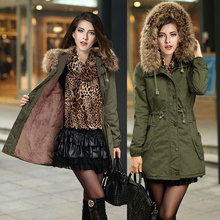 2016 Зимняя куртка женщины с капюшоном с длинным пальто меховой подкладке пальто женский армия зеленый толстый теплый ветровка пальто плюс размер XXL бренд