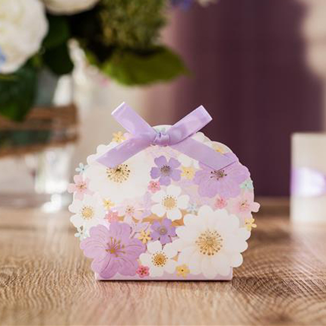 50 Pieceslot Party Gifts Light Purple Flowers Candy Box Girls