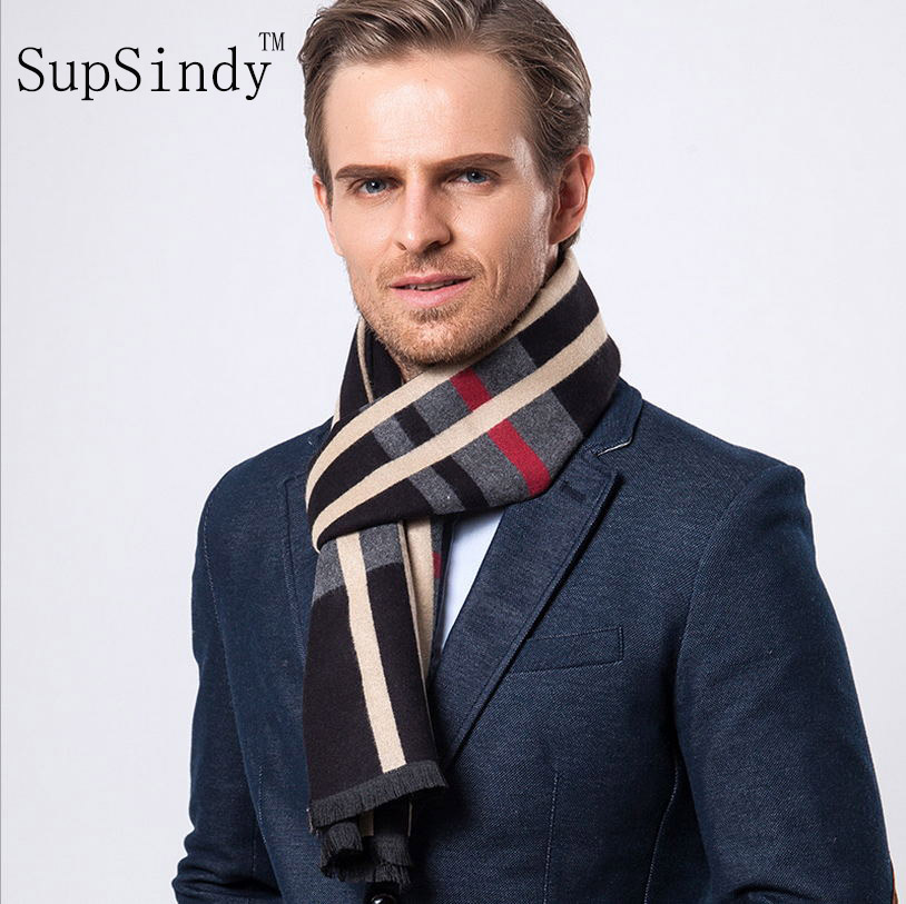 European style Luxury men's   scarf   business casual thick wool   scarves   imitation cashmere   scarves     Wrap   Warm brushed men lattice