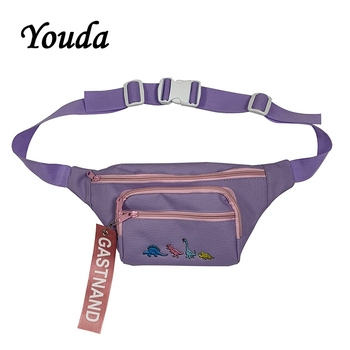 Youda Unisex Street Style Chest Bag Solid Color Cartoon Embroidery Cool Diagonal Bags Hip Hop Trend Fashion Handsome Pockets