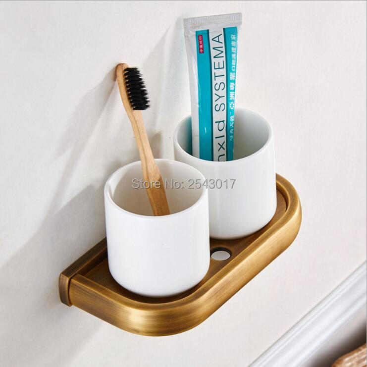 Wholesale Promotion Antique Toothbrush Holder Bathroom Accessories Double Cup & Tumbler Holders Classic Wall Mounted ZR2656