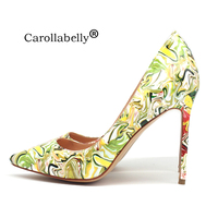 2018 New Carollabelly Woman High Heels Marble Pattern Pumps Pointed Toe Sexy High Heel Wedding Stilettos Shoes Big Sizes 45