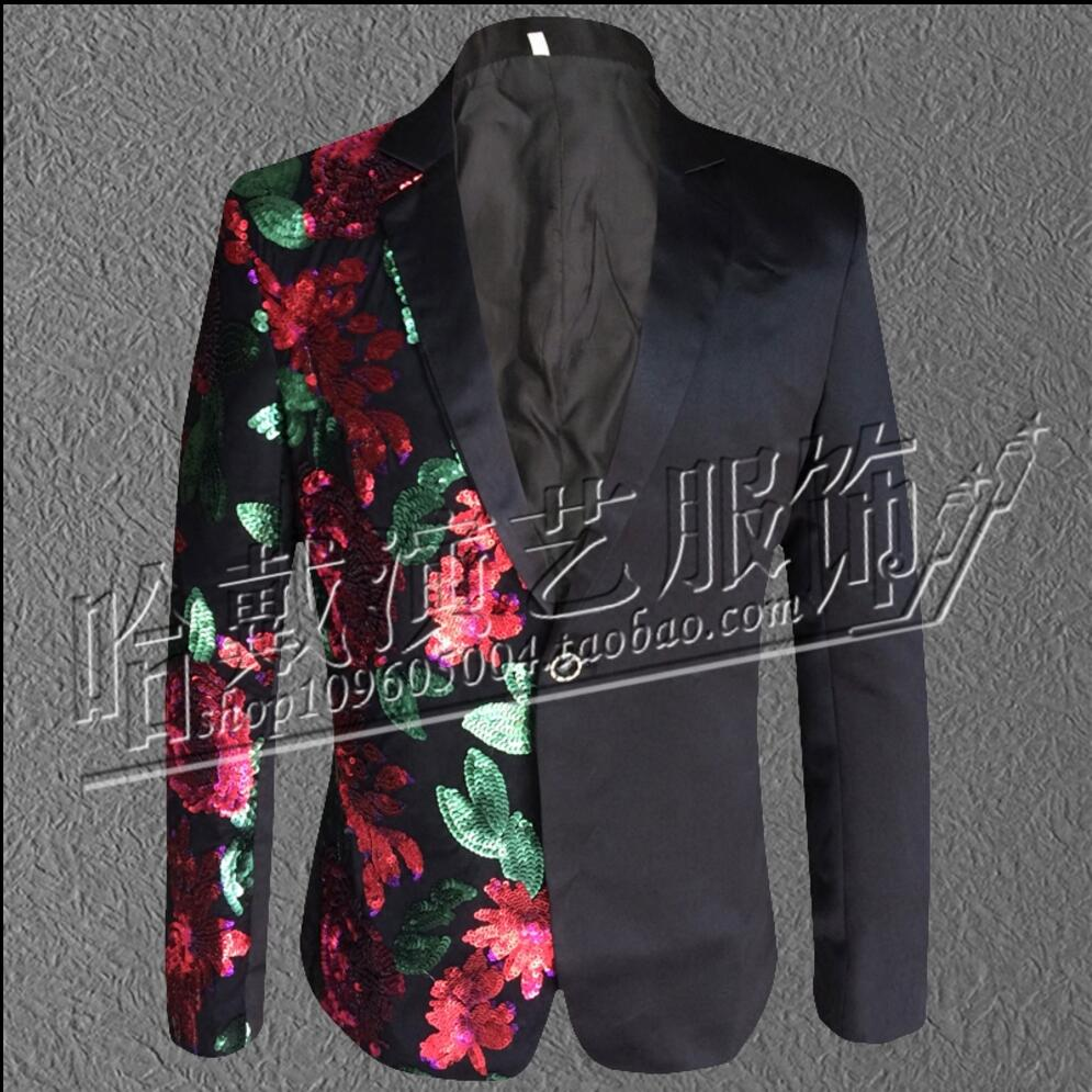 S-3XL Mens Fashion Printing Stitching Sequins Suit Nightclub Bar Singer Performers Casua ...