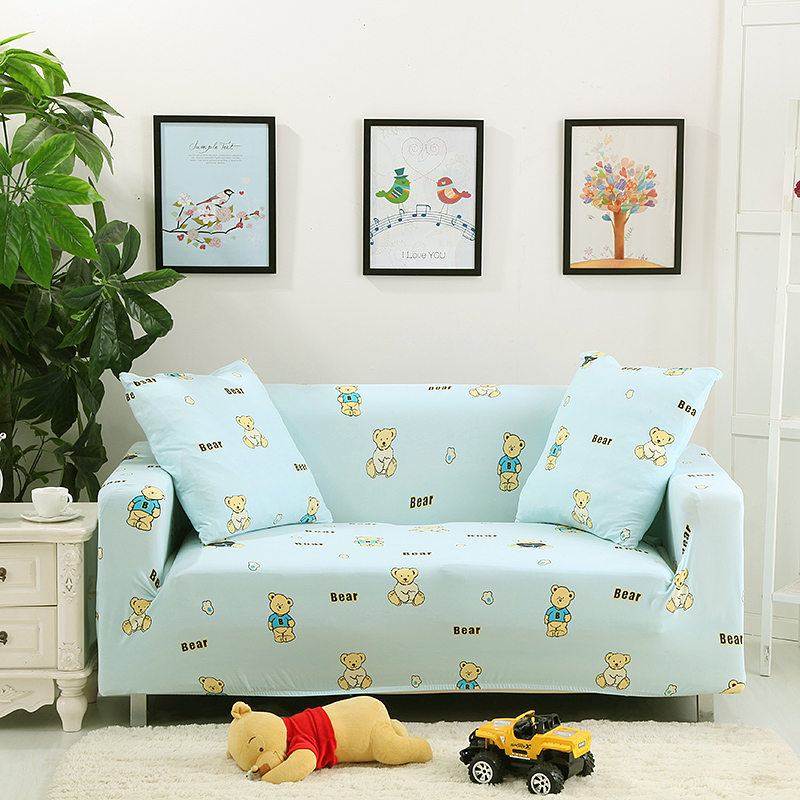 Cheap covers for Furniture stretch universal elastic sofa cover 100 polyester multi size light blue anti