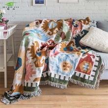 European Geometry Throw Blanket Sofa Decorative Slipcover Cobertor on Sofa Beds Plane Travel Plaid Non-slip Stitching Blankets недорго, оригинальная цена