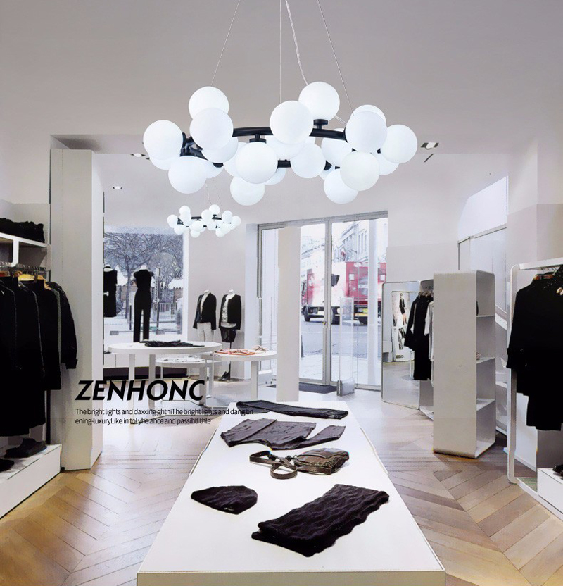 Magic Bean moderne LED suspension lustre lumières salon salle à manger G4 or/noir blanc verre lustre luminaires - 3