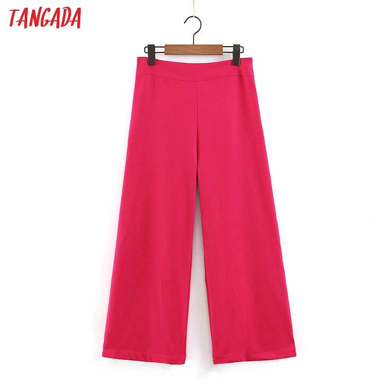 Tangada women chiffon hotpink   wide     leg     pants   side zipper high waist crop trousers loose female pantalones SL390