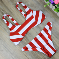 2017 New Stripe Bikini Set Women Summer Sexy V Neck Swimsuit Ladies Beach Bathing Suit