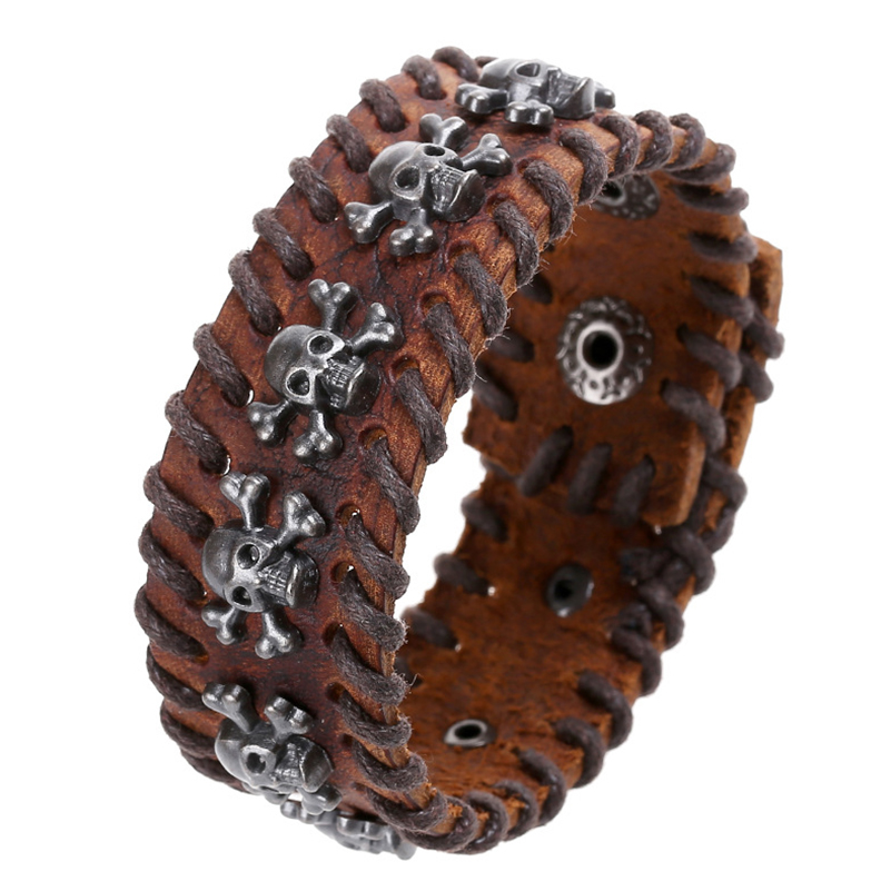 Mens Black Brown Leather Metal Pirate Skull Bracelet