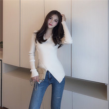 OLN Women Sweater 2019 New Slim Bottoming Sweaters Fashion Female's Pullover Sexy Sweater V-Neck Criss-Cross Top Pull Femme 1322 criss cross front sweater
