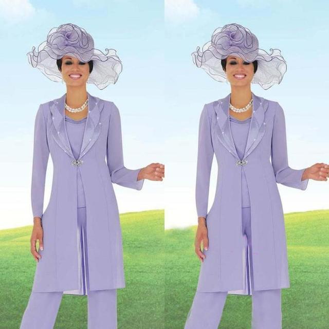 Elegante 3 Peças Mãe dos Fatos de Calça Noiva Contas Chiffon Pant Suit Madrinha Casamento Com Long Jacket Roxo Claro vestidos