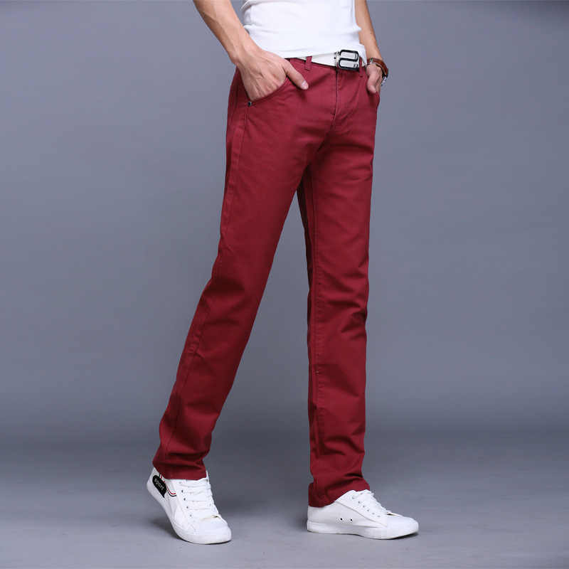 70a2ca7bb474 ... Fashion Men Business Casual Pants Cotton Slim Straight Trousers Spring  Summer Long Pants -MX8 2018 ...