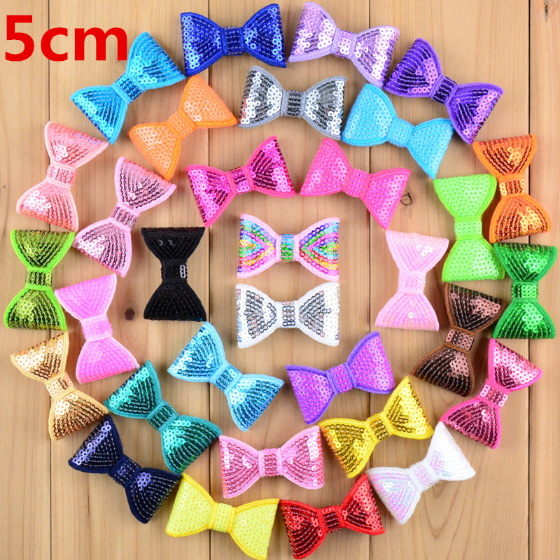 40pcs/lot 2'' Mini Sequin Bows No Clips Hair Barrette Ornament Glitter Bow DIY Hair Accessory 32 Color U Pick HDB12