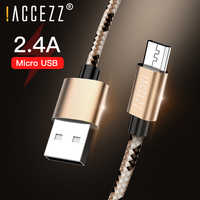 ! ACCEZZ 2.4A Rápido Carregamento Cabos de Dados Micro Cabo USB Para Huawei Xiaomi Redmi Samsung S7 4 Carregador Adaptador de Telefone Android cabo