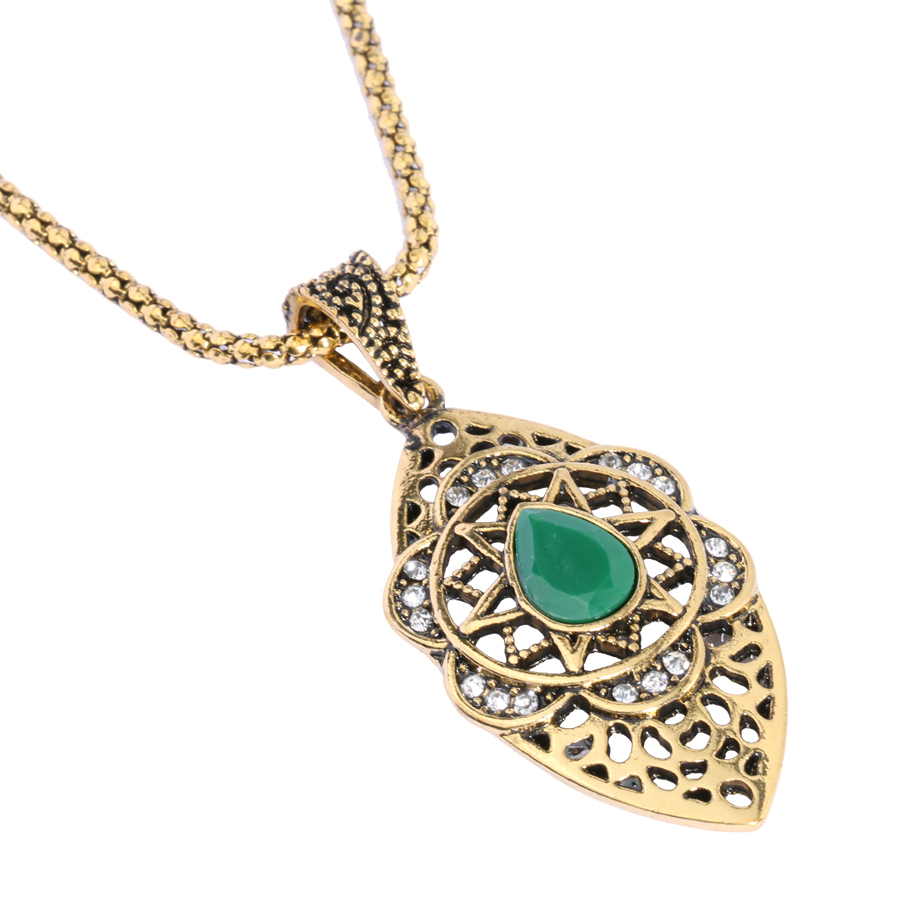Vintage Necklace For Women Gold Color Fine Jewelry Hollow Out Moon Crystal Flowers Long Necklaces Pendant