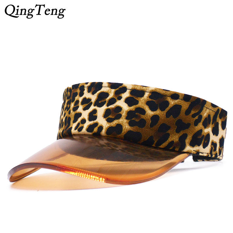 Leopard Print Summer Sun Visor Women Baseball Cap Transparent Visor Sun Hat Empty Top Caps Leisure Beach Casquette