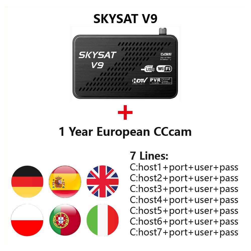 Satellietontvanger SKYSAT V9 Receptor de Satelite CCCamd Cline voor 1 Jaar Europa Spanje DVB S2 Box TV SKYSAT S2020 newcamd CCCamd