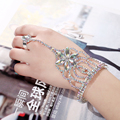 Trendy Color Rhinestone Flower Chain Rings Bracelet & Bangles With Ring Women For Party Wedding Jewelry Accessory Fashion Rings