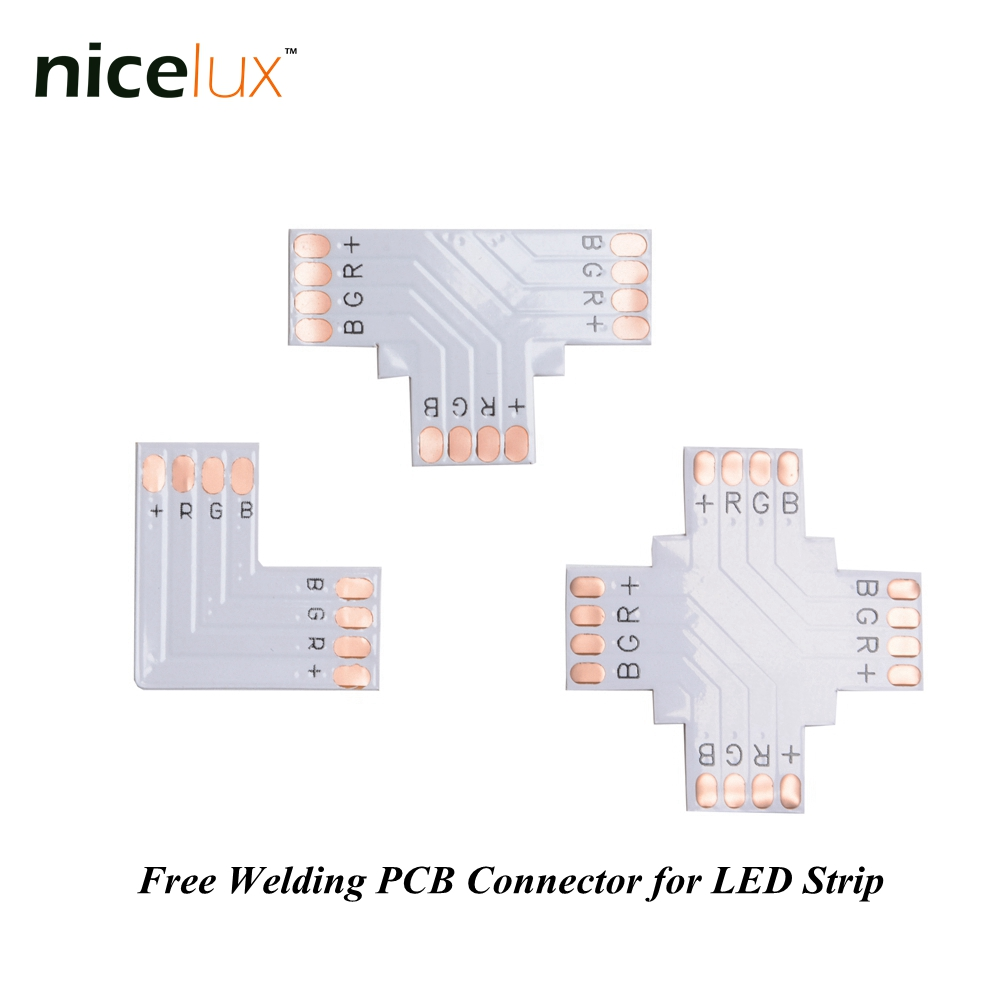 5pcs/lot RGB LED Strip Corner Connector 4 Pin 10mm L T X Shape PCB Board Splitter Connector for SMD 5050 4pin LED Tape Light 1pcs rgb connector 4pin 1 to 2 3 4 cable rgb led flexible strip female connector for smd 3528 5050 rgb strip light