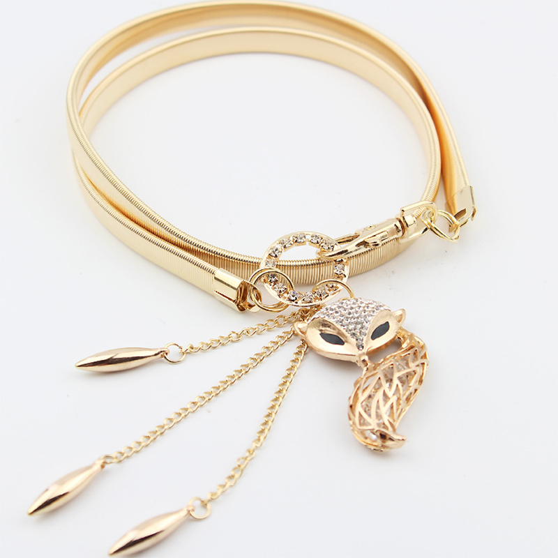 Inlaid Rhinestones Fox Pendant Lucky Leaf  Women's High-grade Gold Elastic Belt Handmade Tassel Elegant Temperament Belt