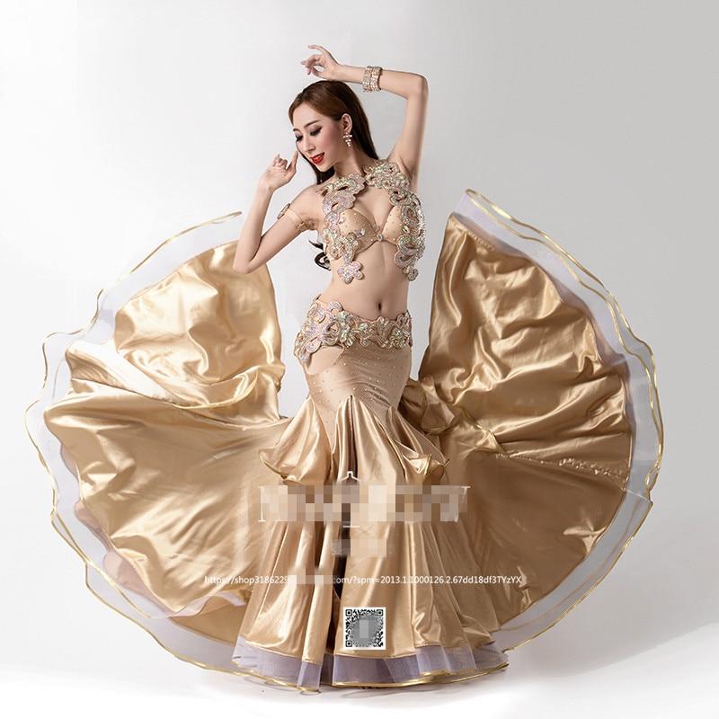 Bellydance oriental Du Ventre Indien orientale baladi saidi swing robe de danse danse costumes vêtements soutien-gorge ceinture jupe robe porter 3624