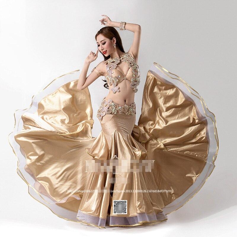 Bellydance orientale Del Ventre Indiano orientale baladi saidi altalena robe costumi di danza vestiti di ballo del reggiseno della cinghia del pannello esterno del vestito di usura 3624