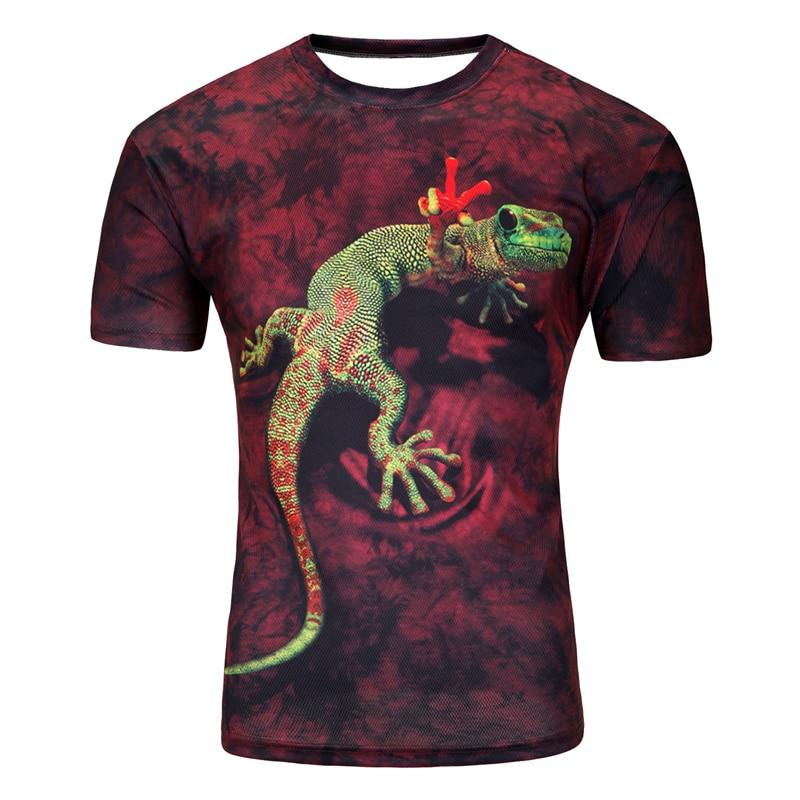 T-shirt à manches courtes 3D de haute qualité pour hommes O-cou Lézard Mode 3d eau imprimé T-shirts Casual Animal Hip Hop Brand