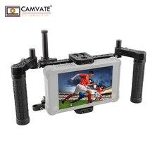 "CAMVATE DSLR מצלמה מנהל של צג Rig כלוב עם מתכוונן ידית כידון & עבור (ATOMOS NINJA תופת) 5 ""& 7"" מסכי LCD"
