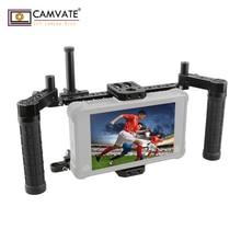 """CAMVATE Monitor de cámara DSLR, aparejo de jaula con empuñaduras ajustables y para monitores LCD (ATOMOS NINJA inferior) de 5 """"y 7"""""""